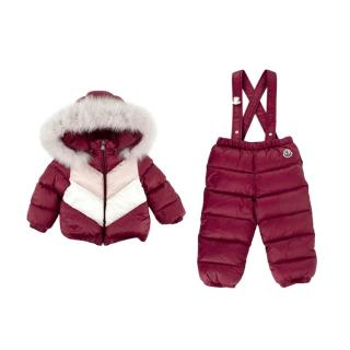 Moncler Purple Chevron Quilted Puffer Jacket & Salopettes