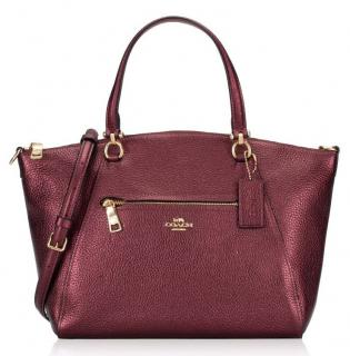 Coach Prairie metallic wine leather bag