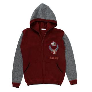 Dolce & Gabbana Burgundy Knit Hooded Jumper