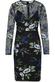 Diane von Furstenberg Sheath black embroidered tulle mini dress