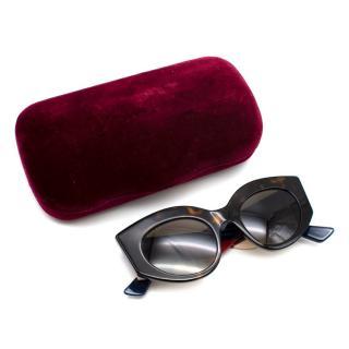 Gucci Tortoise Shell Cat-Eye Side Stripe Sunglasses