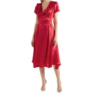 Rhode Celia Cherry cutout silk wrap dress
