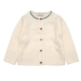 Bonnet a Pompon Cream Knitted Cardigan