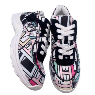 Chanel multicoloured pattern CC trainers