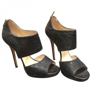 Jimmy Choo black glitter peep-toe heeled sandals