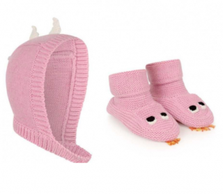Stella McCartney Pink Organic Cotton & Wool Botties & Hat
