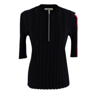 Celine By Phoebe Philo Black Stretch Jersey Ribbed Zip-Up Top