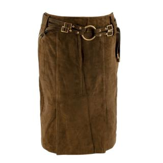 Tom Ford Khaki Suede Leather Belted Skirt