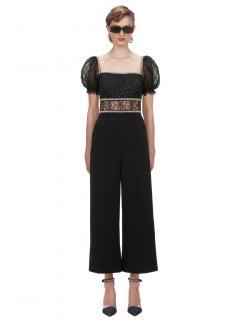 Self Portrait Black Sequin Circle Lace Jumpsuit