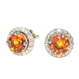 William & Son citrine and diamond halo stud earrings