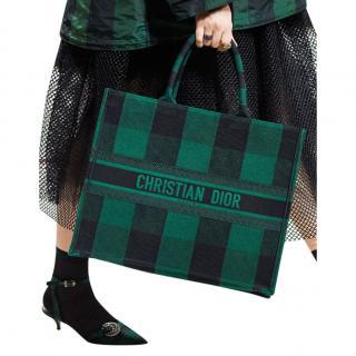 Dior Green & Black Check Canvas Book Tote