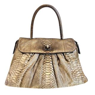 Zagliani Gold Python Top Handle Bag