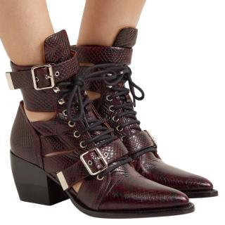 Chloe Embossed Burgundy Rylee Cut-Out Ankle Boots