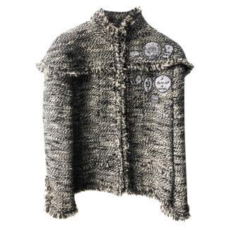 Chanel Black & White Tweed Embroidered Jacket