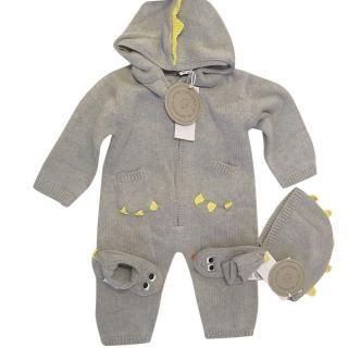 Stella McCartney Grey Merino Wool Dragon BabyGrow, Hat & Booties