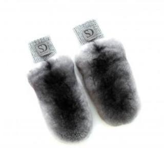 FurbySD Natural Chinchilla Fur Knit Mittens