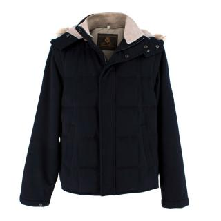 Loro Piana Mens Navy Cashmere Jacket with Fox Fur Trim