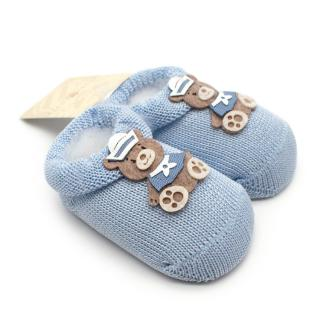 Story Loris 6M Blue knitted Booties with Embroidered Bear