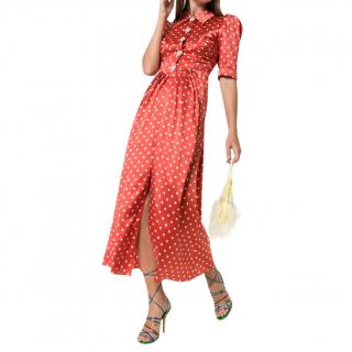 Alessandra Rich red silk polka dot midi dress