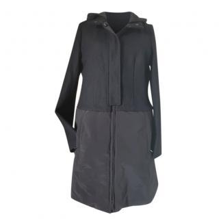 Max Mara Black Wool Blend Down Coat