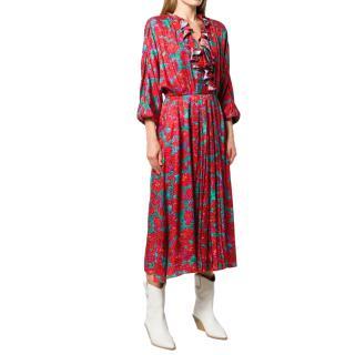 Magda Butrym Red Printed Silk Midi Dress