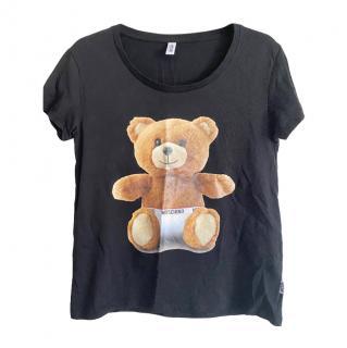 Moschino black cotton teddy t shirt