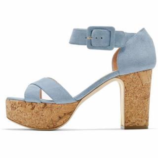 Rupert Sanderson Haitana in Azure Suede Platform Sandals