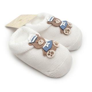 Story Loris 3M White knitted Booties with Embroidered Bear