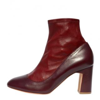 Rupert Sanderson burgundy leather ankle boots