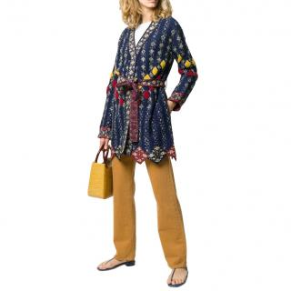 Peter Pilotto Embroidered Belted Longline Cardigan