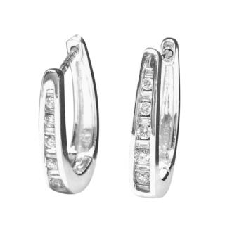 Vashi 18ct White Gold Diamond Hoop Earrings