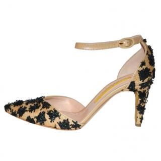 Rupert Sanderson Calleen Raffia Embellished Sandals