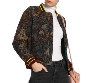 Sandro Jacquard Floral Bomber Jacket