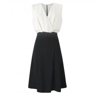 Vanessa Bruno Two-Tone Wrap Style Sleeveless Dress
