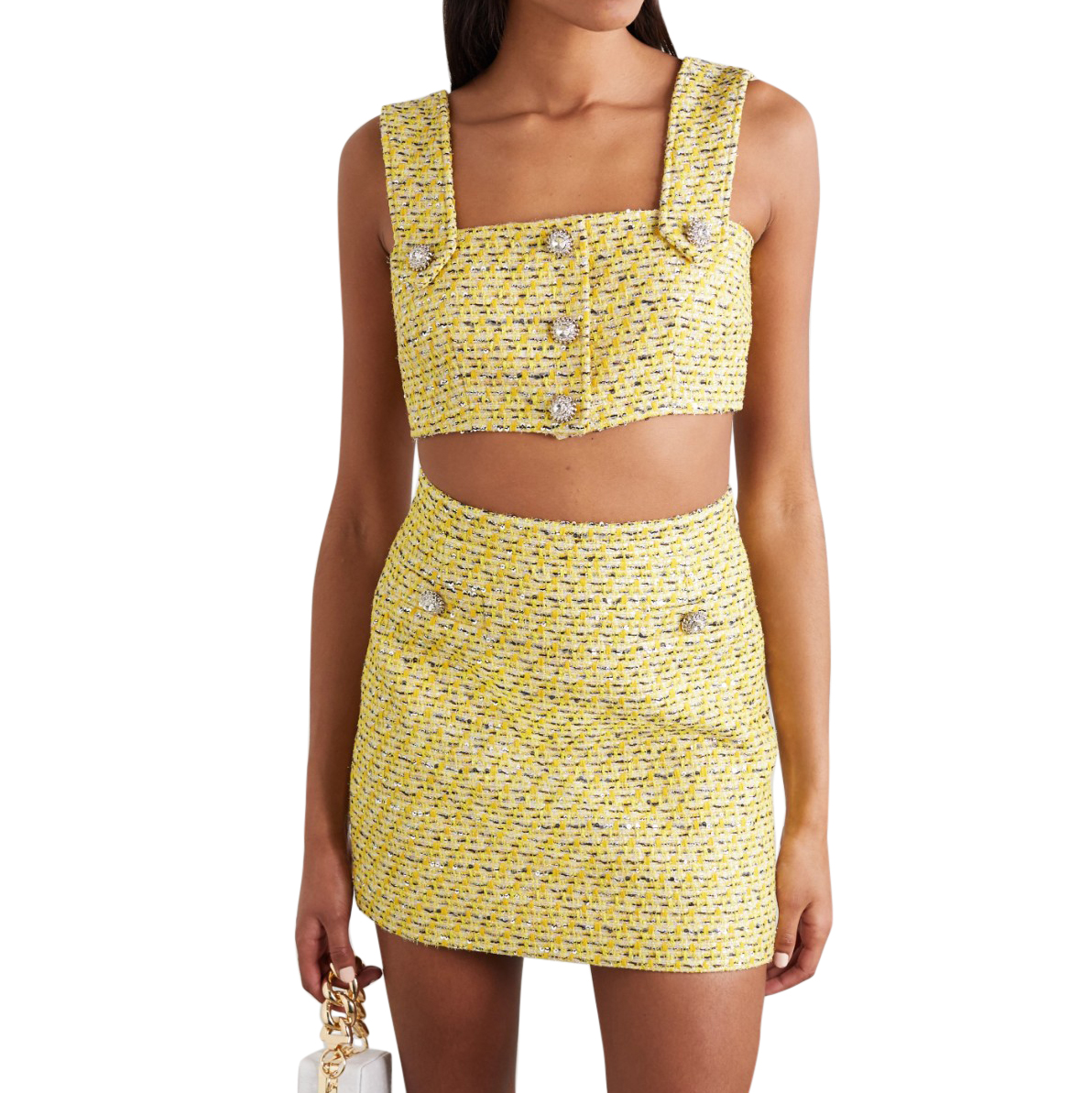 Alessandra Rich Yellow Lurex Tweed Crop Top