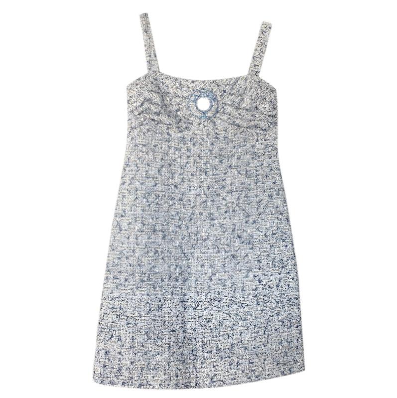 Chanel blue tweed mini dress