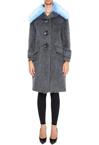 Prada Alpaca And Faux Fur Coat in Grey
