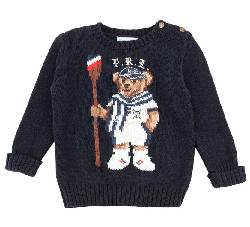 Ralph Lauren Baby Navy Teddy Knit Jumper