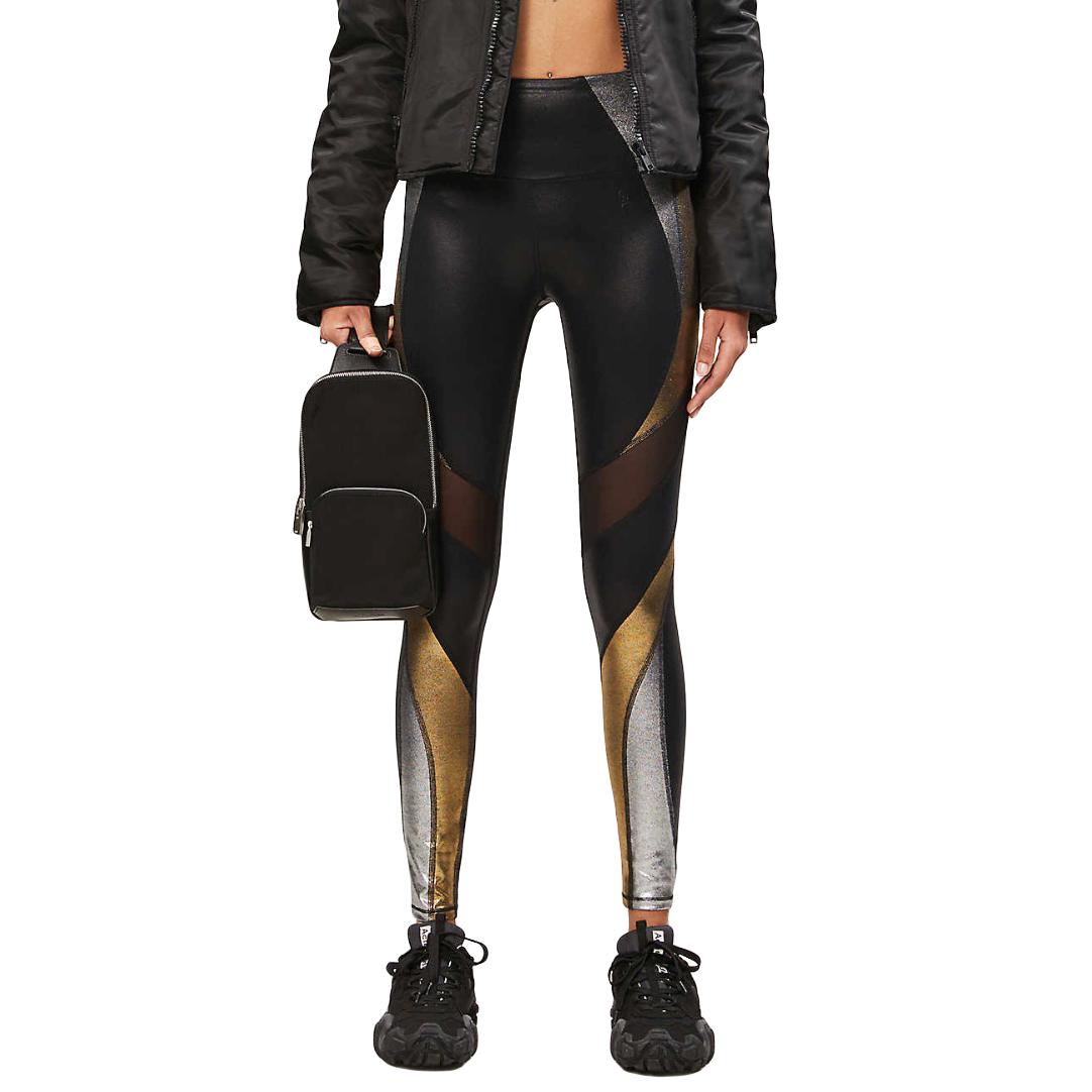 Good American gold & silver metallic panel black leggings