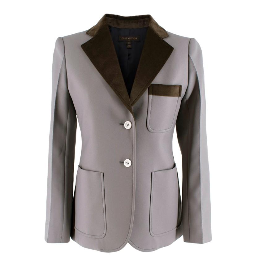 Louis Vuitton Grey Tailored Jacket with Velvet Trim