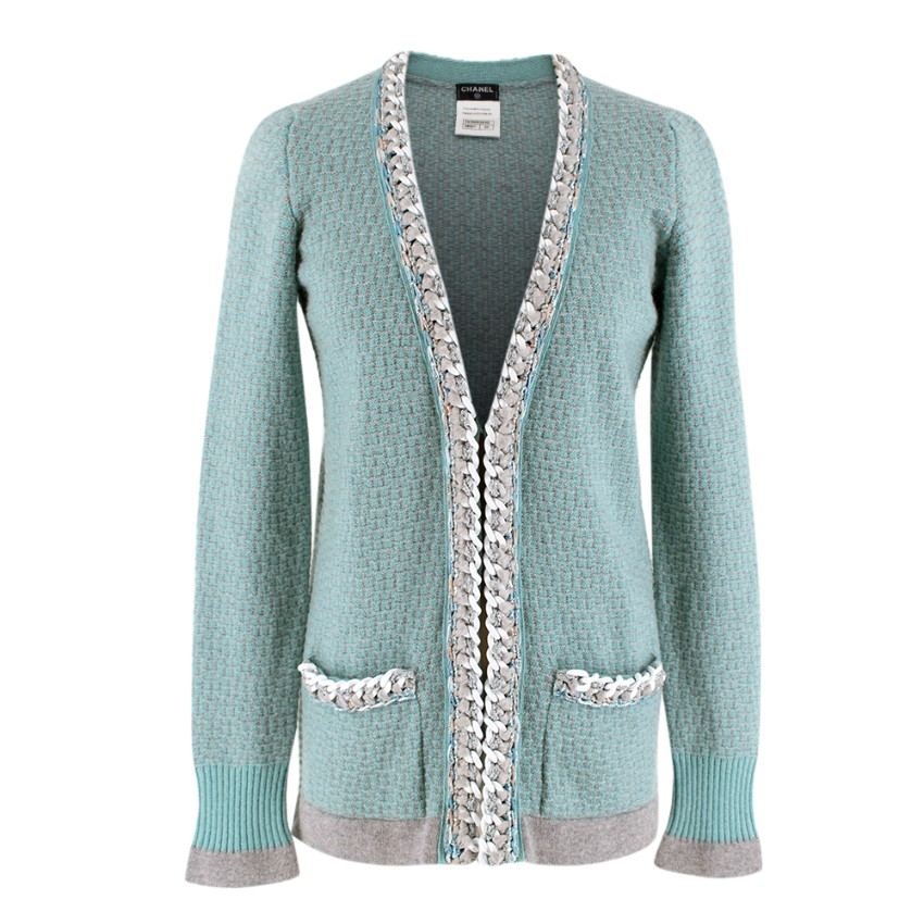 Chanel Soft Cashmere Knit Chain Trim Cardigan