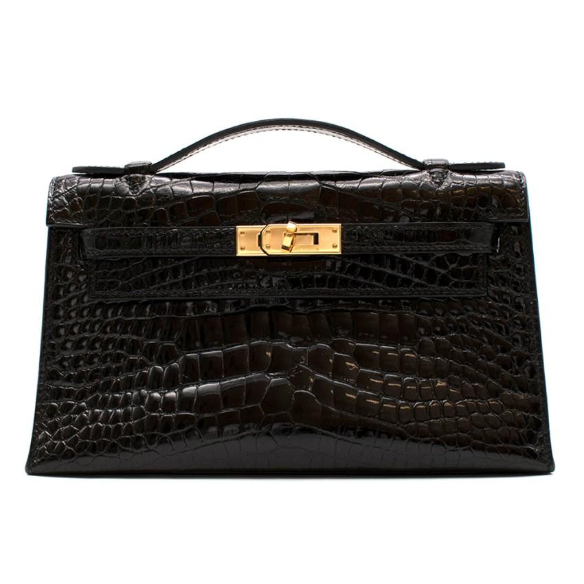 Herm�s Mini Kelly 22 Pochette Bag in Noir Alligator Mississippiensis
