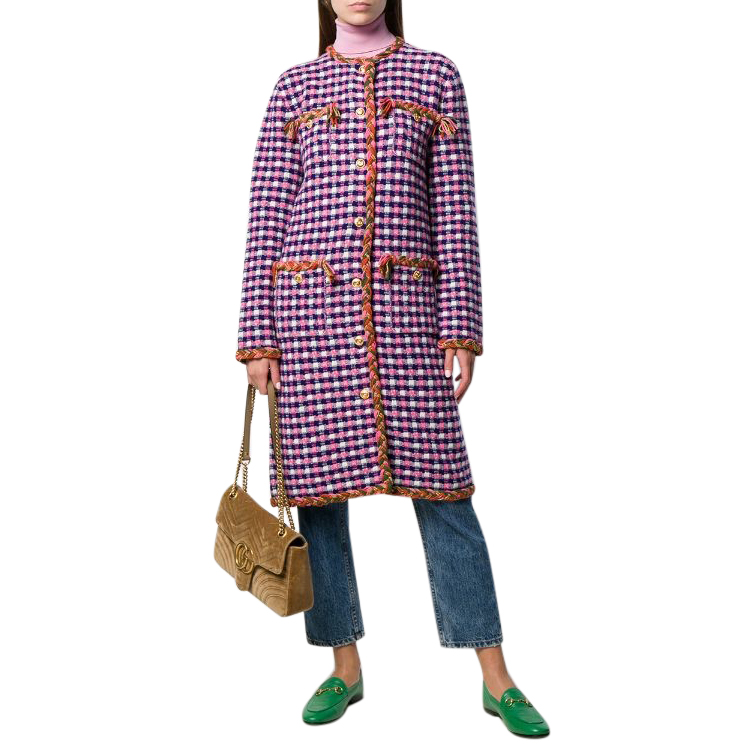 Gucci Pink Check Tweed Wool Coat