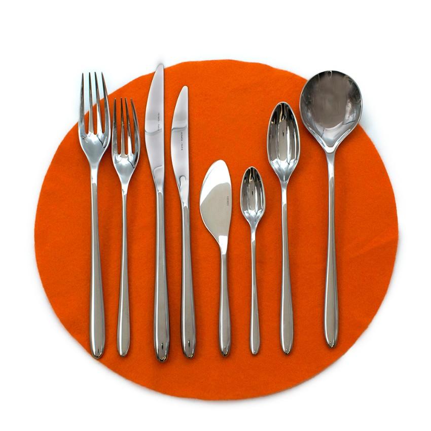 Hermes Set of 10 Sterling Silver Iliane Flatware - 7 Piece Setting
