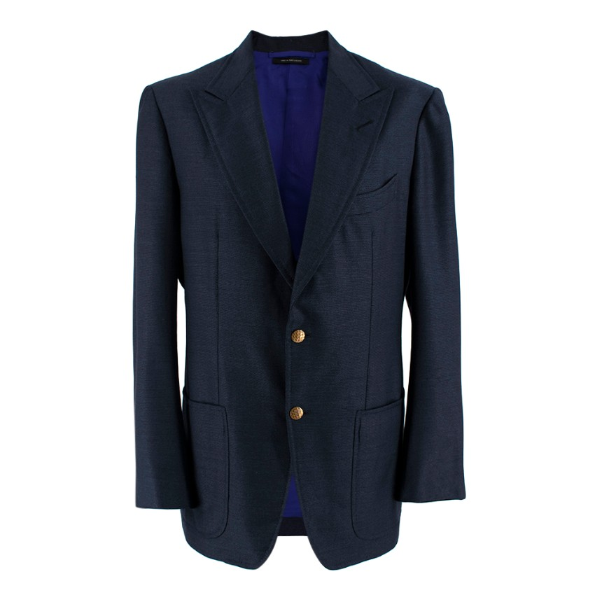 Tom Ford Navy Wool Blend Single Breasted Blazer