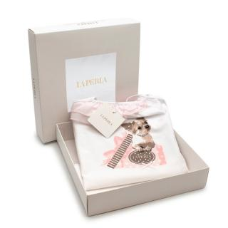 La Perla Soft Cotton Kids Pyjamas with Puppy Print and Pink Shorts