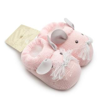 Story Loris 6M Pink Cotton Embroidered Mouse Booties