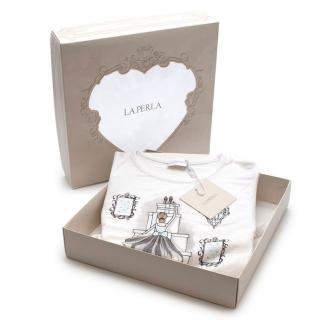 La Perla White Ballerina Lace Trimmed Pyjama Dress