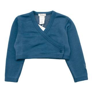 MiMu Blue Cropped Buttoned Cotton/Linen Blend Cardigan