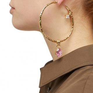 Attico Crystal Drop Gold Tone Single Hoop Earring